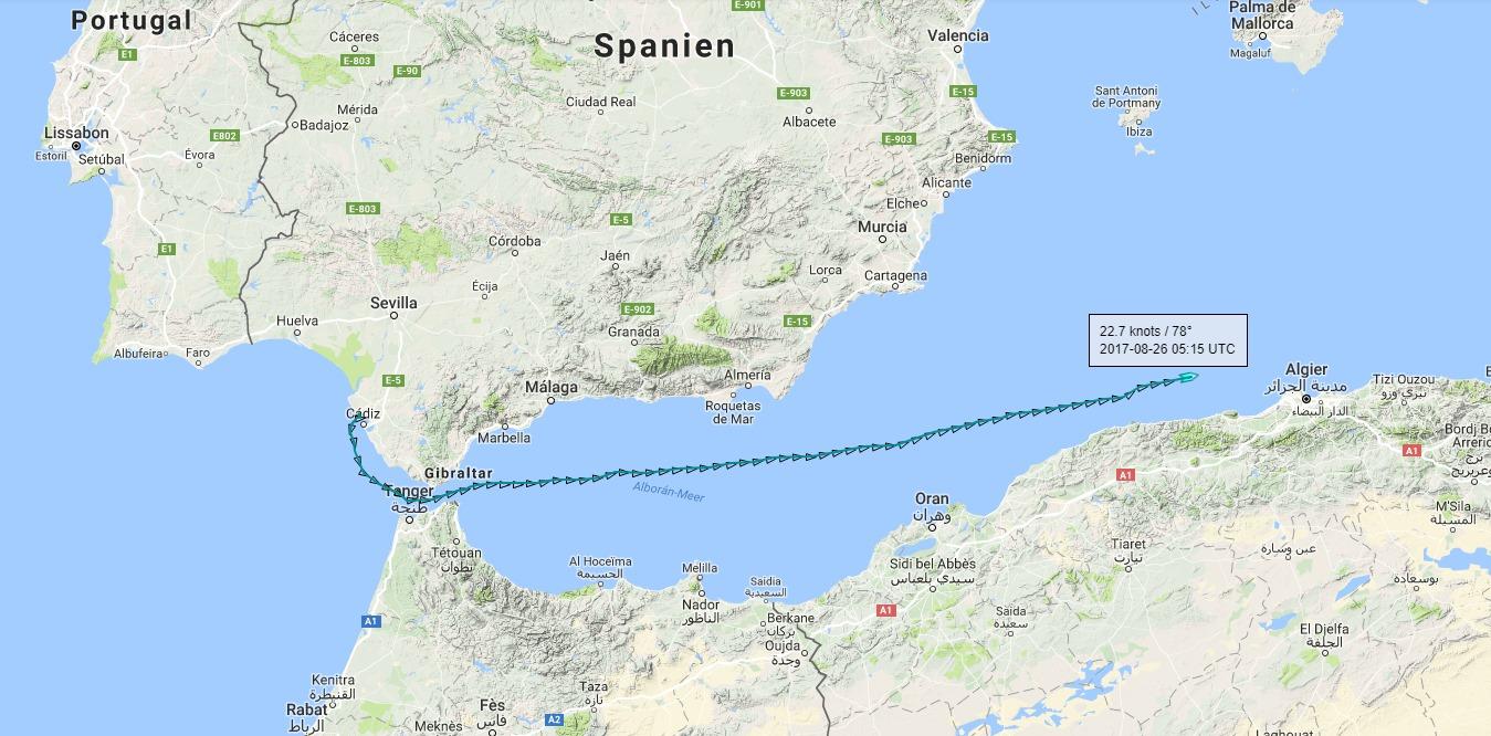 Meerenge Von Gibraltar Karte.26 August 2017 Fregatte Lubeck